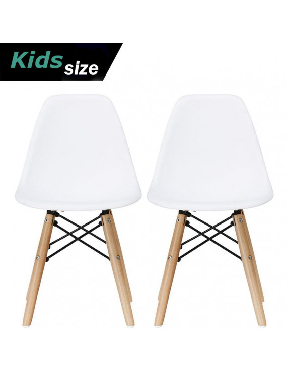 2xhome - Set of 2 - White - Kids Size Plastic Side Chair Black Seat Natural Wood Wooden Legs Eiffel Childrens Room Chairs No Arm Arms Armless Molded Plastic Seat Dowel Leg