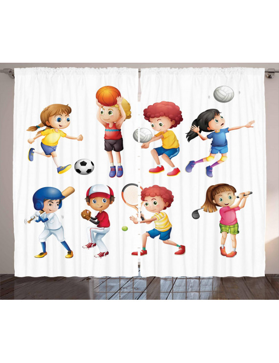 Kids Sports Curtains 2 Panels Set, Children Playing Soccer Baseball Basketball Volleyball Golf Tennis Hobby Theme, Window Drapes for Living Room Bedroom, 108W X 63L Inches, Multicolor, by Ambesonne