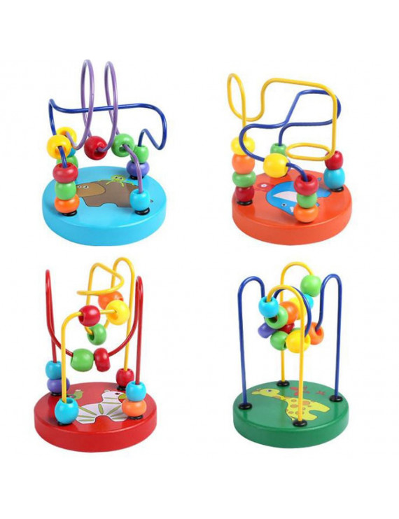 【JCXAGR】Kids Baby Colorful Wooden Mini Around Beads Educational Game Toy