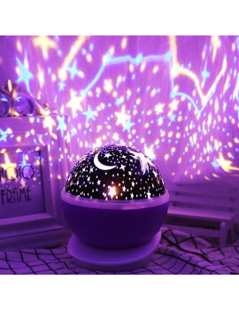3 Colors LED Star Projector Lamp 360 Degree Romantic Rotating Night Cosmos Star Sky Moon Projector Kids Sleep Night Light For Children Christmas Gift Bedroom Decor