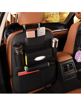 1/2-Pack Car Backseat Organizer with Tissue Holder, Car Seat Back Protector Kick Mats PU Leather Storage Bag