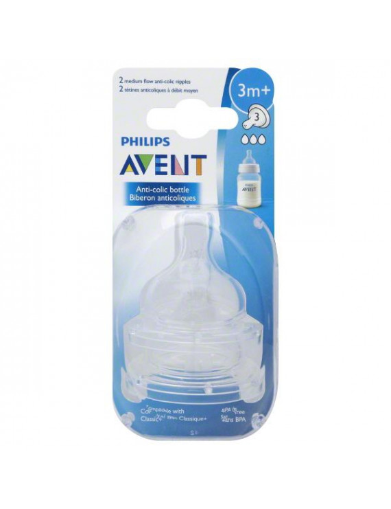 Philips Avent Anti-Colic Medium Flow Nipple for Avent Anti-Colic Baby Bottles, 3 Months+, BPA-Free, 2pk