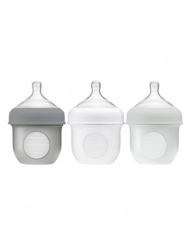 Boon Nursh Reusable Silicone Pouch Baby Bottle, Air-Free Feeding, Gray Multi Pack, 4 Oz, 3 Pk