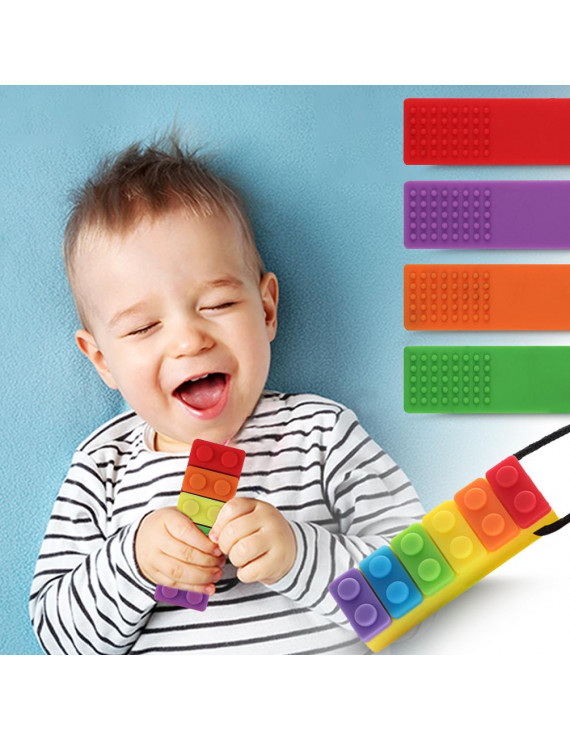 Sensory Chew Necklaces Teething Necklaces Baby Teethers Toy, 4 Pcs