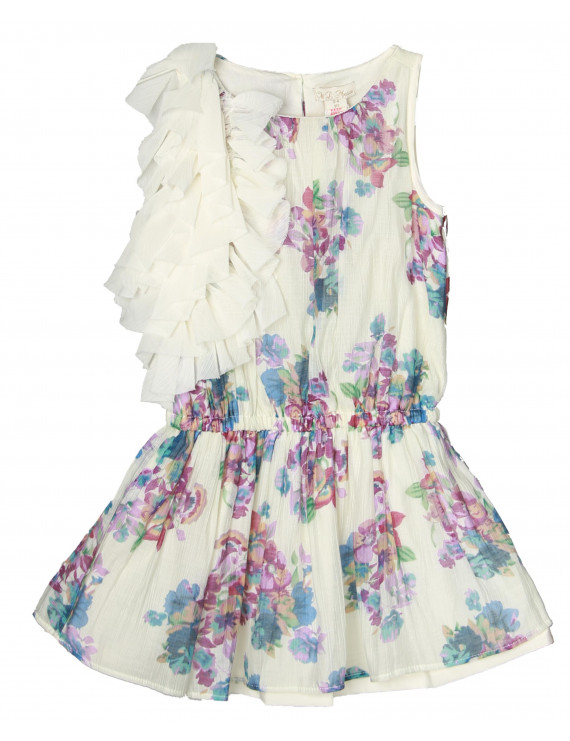 Richie House Girls' Blossoms Dress with Shoulder Ruffles RH0590