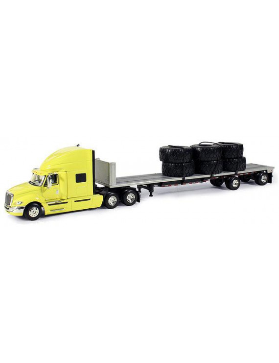 International Prostar+ Yellow With 48' Silver Flatbed Trailer 1/64 Diecast Model by First Gear