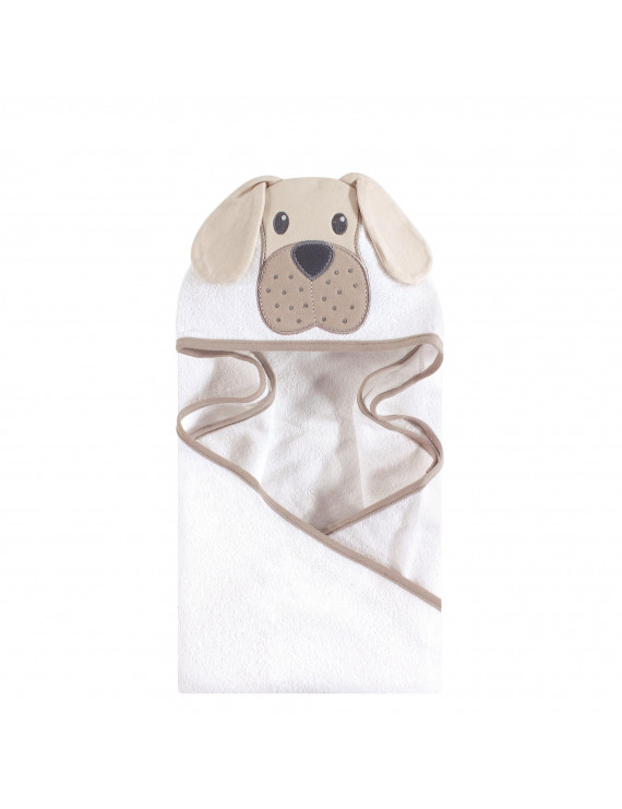 Hudson Baby Boy and Girl Woven Terry Animal Hooded Towel, Tan Puppy