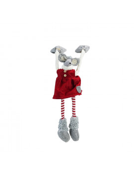 """20"""" Red and Gray Merry Mouse Hanging Mantle Christmas Decor"""