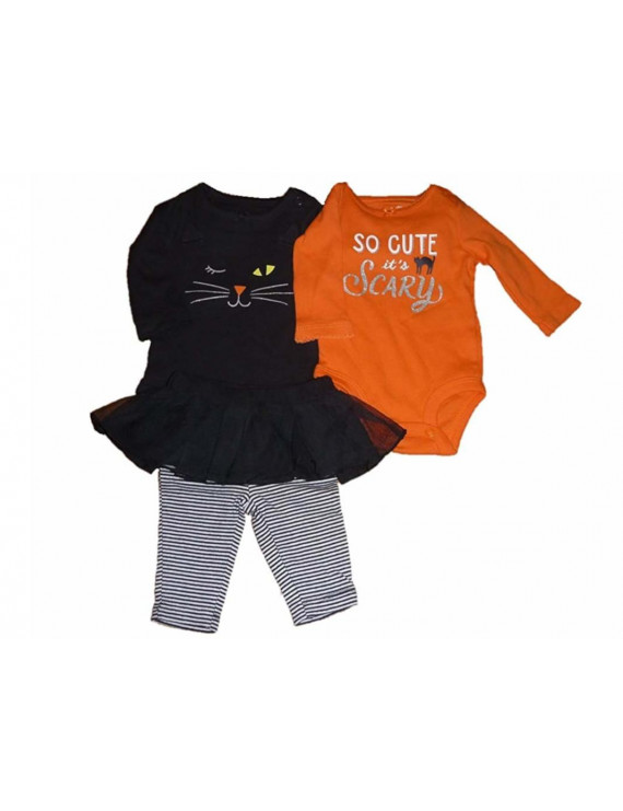 """The William Carter Company. Baby Girls Size 18 Months """"So Cute It's Scary"""" Halloween Cat 3-Piece Set, Black/Orange"""
