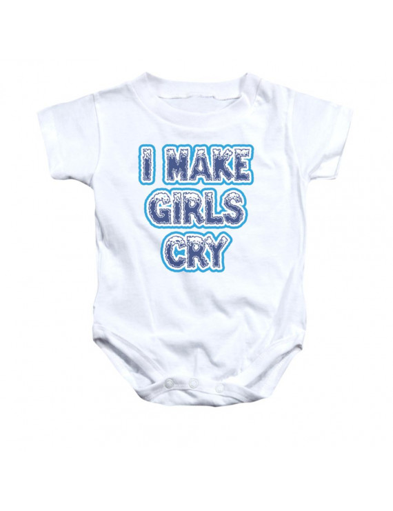 I Make Girls Cry Funny Saying Baby Infant White Creeper Romper Snapsuit