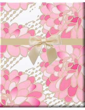 Pink and white Floral Gilded Flower Blooms Gift Wrap Wrapping Paper-15ft Roll w. Gift Labels