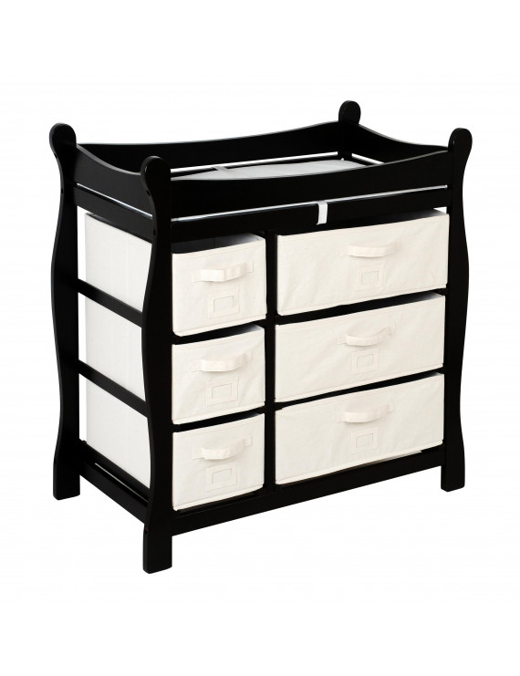 Badger Basket Sleigh Style Baby Changing Table with 6 Baskets, Black, Includes Pad
