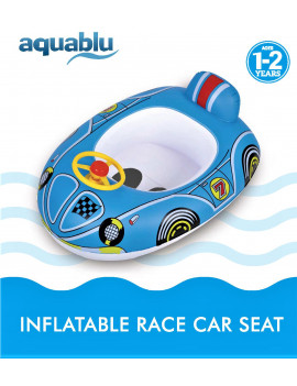 aquablu Inflatable Blue Race Car Cool Summertime Swim Seat & Float Toy for Pool Beach Lake Bay & More Exciting Blue Race Car
