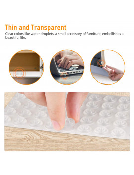 TSV Pack of 100Pcs Sound Dampening Cabinet Door Bumpers - Clear Soft Close Self-Adhesive Rubber Pads - Transparent Sound Dampening Small Clear Rubber for Drawers, Cupboards, Cutting Boards
