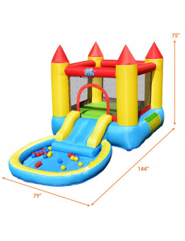 Gymax Inflatable Bounce House Kids Slide Jumping Castle Bouncer w/Pool and 580W Blower