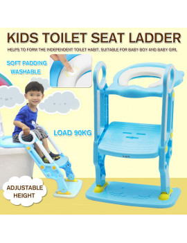Anti Slip Potty Training Ladder Step Up Seat Toilet Contoured Cushion Training Step Stool for Kids Toddlers with Safe Antiskid Board Super Soft Toilet Cushion Foldable & Adjustable