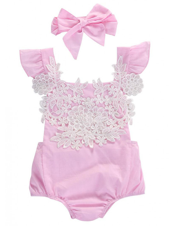 Canis Newborn Baby Girl Lace Floral Romper Jumpsuit Sunsuit Outfits Clothes