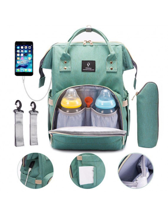 Infant Diaper Bag Backpack with Stroller Straps+ USB Interface Charging ,Baby Nappy Organizer Maternity Diaper Bags Travel Rucksack