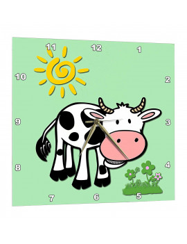 3dRose Cute cow. Light lime. Kids decor. Popular print. Best seller., Wall Clock, 15 by 15-inch