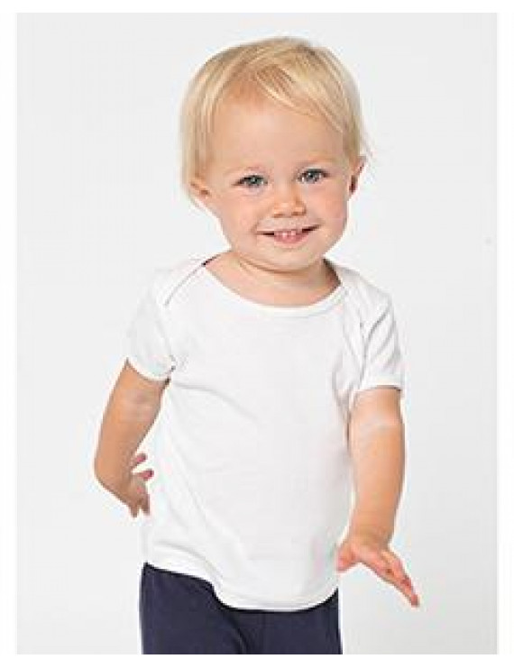 Infant Baby Rib Short-Sleeve Lap T - WHITE - 6-12MOS