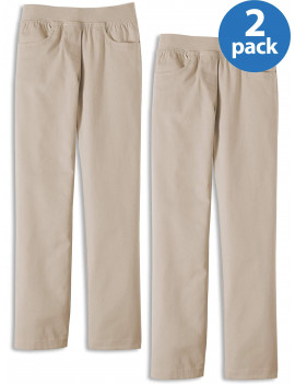 Wonder Nation Girls School Uniform Stretch Twill Pull-On Pants, 2-Pack Value Bundle, Sizes 4-16