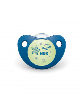 NUK Cute-as-a-Button Glow-in-the-Dark Orthodontic Pacifiers, Boy, 6-18 Months, 2-Pack