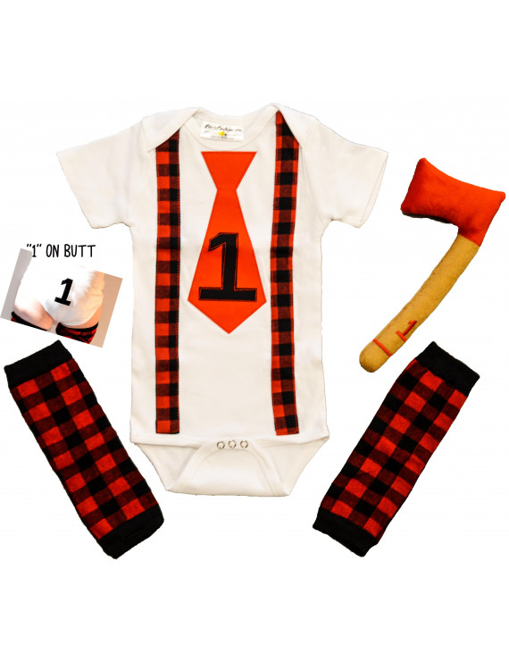 1st Birthday Boy Outfit First Cake Smash Set Lumberjack Onesie Plaid Red Black Leg Warmer & Axe Outfit 12-18 months