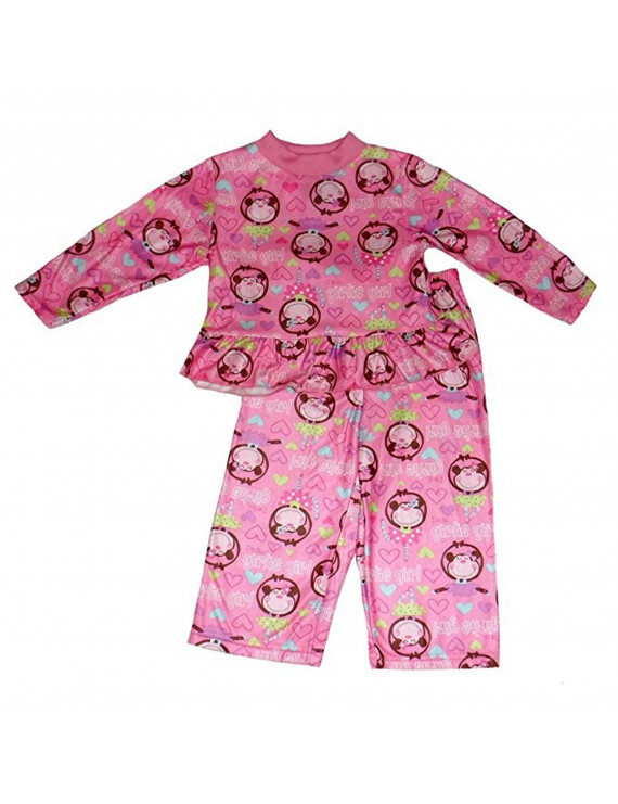 Angel Face Baby Girls' I'm A Girlie Girl Monkey Pajamas 2 Piece Set (12 Months)