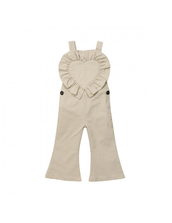 New Toddler Baby Girls Bib Pants Bell-Bottom Trousers Romper Jumpsuit Outfits
