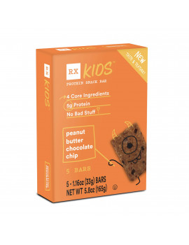 RX Kids Peanut Butter Chocolate Chip Protein Snack Bar, Gluten Free, 5 Ct (New Taste & Texture!)