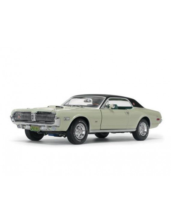 1968 Mercury Cougar XR7G Seafoam Green with Black Top 1/18 Diecast Model Car by SunStar
