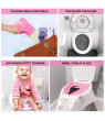 Non Slip No Falling Travel Folding Portable Potty Training Seat Fits Most Toilets, Large Non-slip Silicone Pad, Home Reusable with Carry Bag Pink
