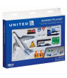 Toy Airplane Playset - Airport Playmat with Three 5.5' Diecast Model Planes & Accessories - United, American, Jetblue Airlines