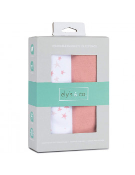 100% Cotton Wearable Blanket Baby Sleep Bag Solid Dusty Rose and Mauve Pink Stars 2 Pack (0-3 Months)