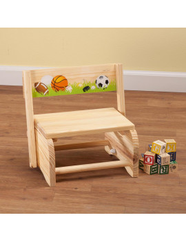 2-in-1 Children's Step Stool and Chair, Sports Design