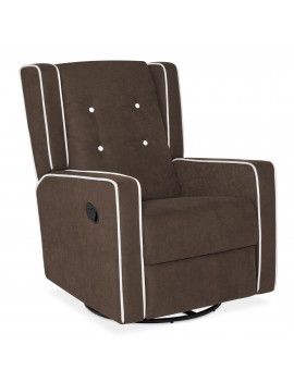 Best Choice Products Mid-Century Tufted Velvet Upholstered Recliner Rocking Chair w/ 360-Degree Swivel - Brown