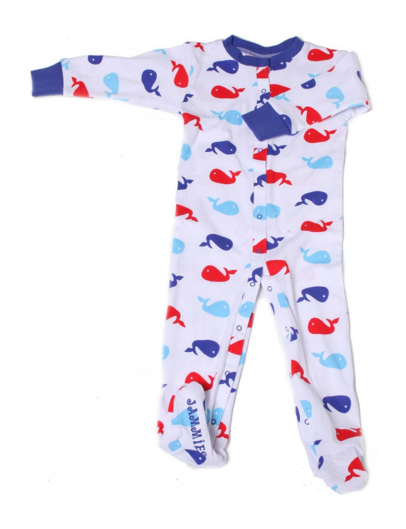 New Jammies Baby Boys Blue Red Printed Organic Cotton Footie Romper