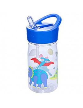 96408 Water Bottle, for School Kindergarten Boys and Girls, 16 Oz Olive Kids Design Features Flip Straw, Top Carrying Handle, 1, Blue White (Dinosaur Land)