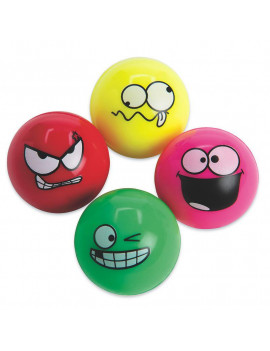 (Price/Pack of 12)S&S Worldwide Funny Face High Bounce Balls Pack
