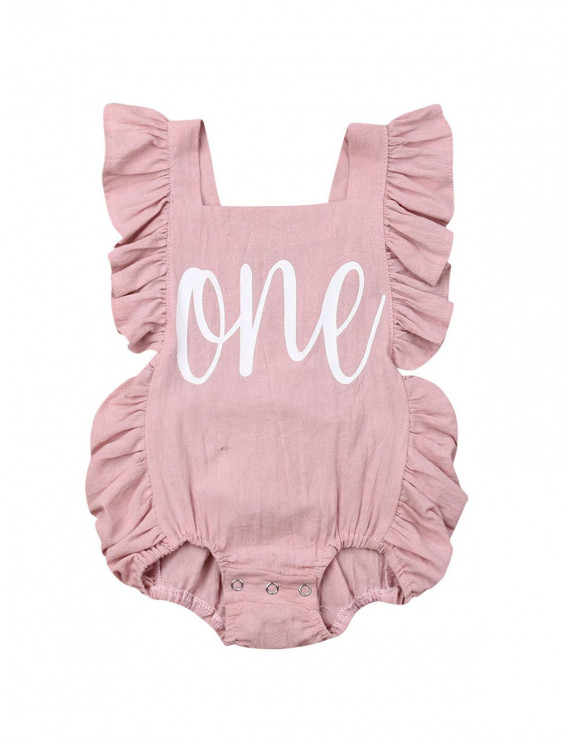 Newborn Baby Girl First Birthday Outfit Ruffle One Print Backless Jumpsuit Bodysuit