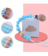 KABOER Pacifier Clip Baby Silicone Pacifier Chain Wooden Beaded Nipple Teether Chain Gift