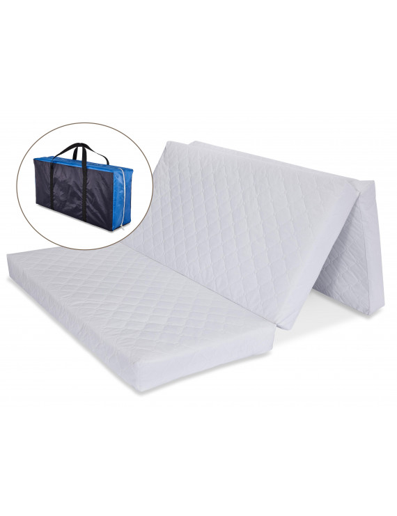 """LA Baby Multi-Use Waterproof Folding Portable Crib Mattress/Play Mat with Travel Carry Case, 1.5"""""""