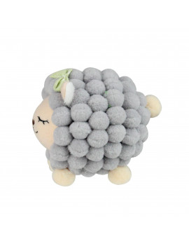 "4.75"" Gray and Pink Plush Baby Lamb Spring Easter Decor"