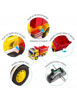 Vokodo Construction Garbage Truck With Lights And Sounds Lift Up Back Friction Powered Durable Kids Dump Sanitation Push And Go Toy Car Pretend Play Vehicle Great Gift For Children Boys Girls Toddlers