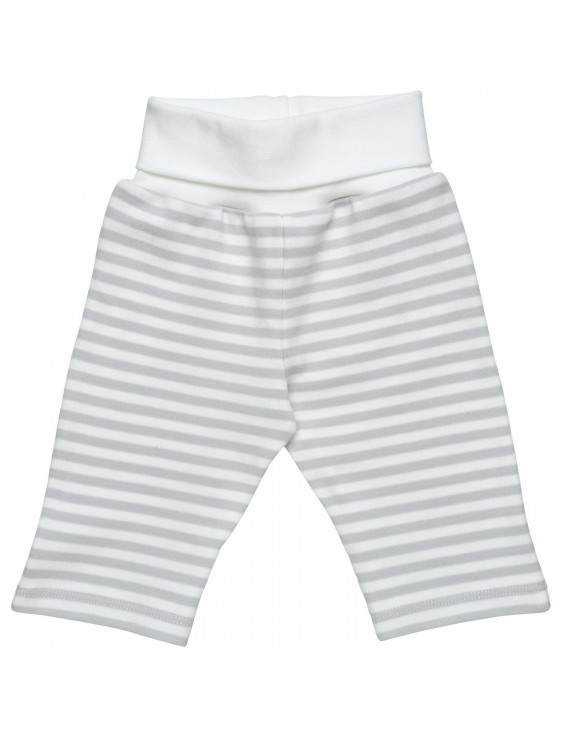 Organic Cotton Unisex Baby Pant with Fold over Waistband Size 0-3m Grey Stripe