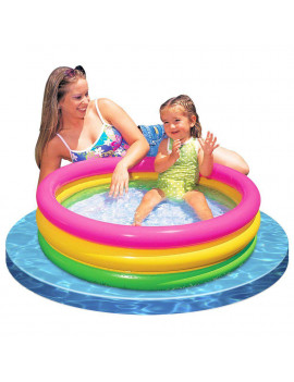 2) Intex Sunset Glow Inflatable Colorful Baby Swimming Pool, Multicolored
