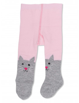 ED Ellen DeGeneres Infant and Toddler Girls Opaque Cat Design Tights, 1 Pair