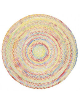 """Capel Baby's Breath Light Yellow 0450_150 Braided Rugs - 24"""" X 8' Runner Concentric Rectangle"""