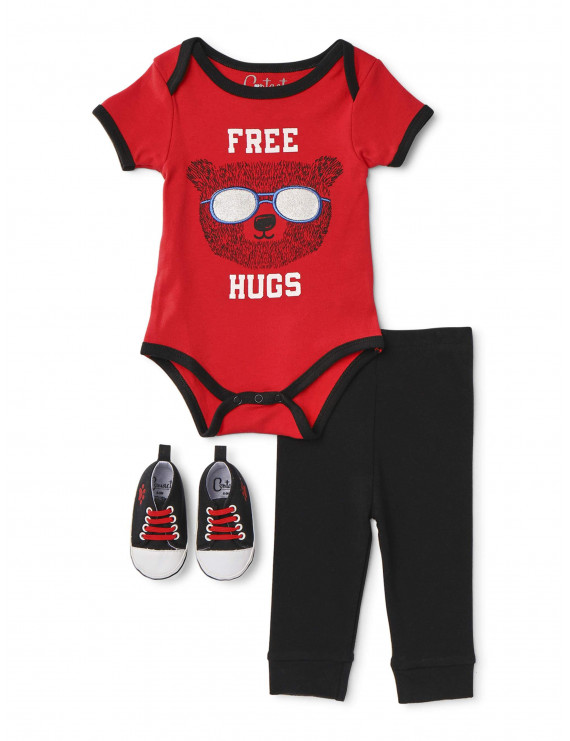 Contact Baby Boy Short Sleeve Bodysuit, Pants & Sneakers, 3pc Outfit Set