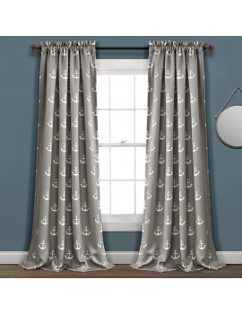 Anchor Room Darkening Window Curtain Panels in Gray, 84-inches in L, Set of 2